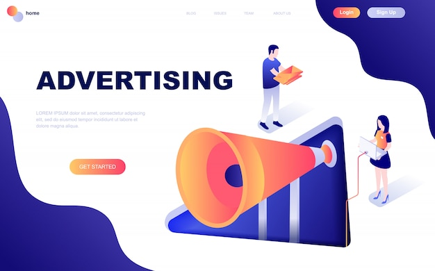 Concetto isometrico di pubblicità e promozione