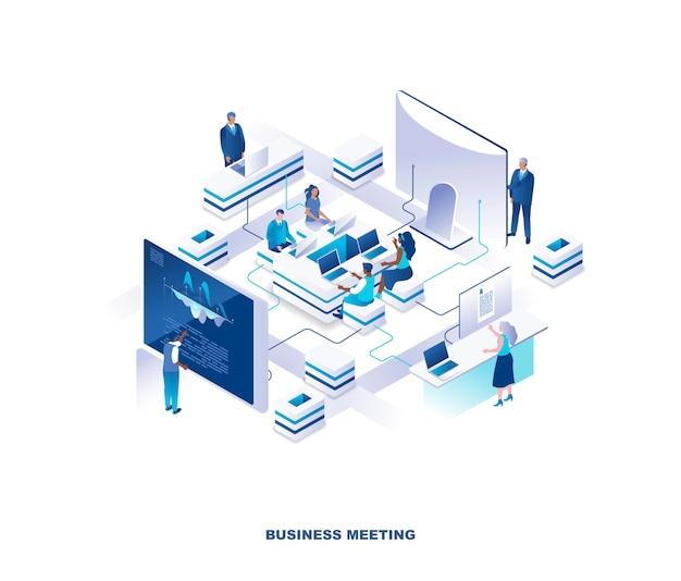 Concetto isometrico di riunione d'affari