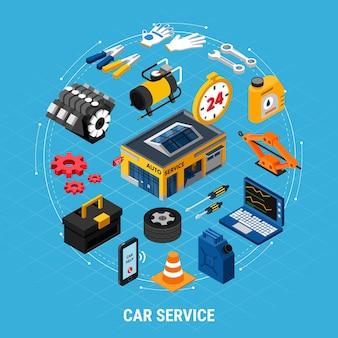 Concetto isometrico di servizio auto con simboli di aiuto professionale