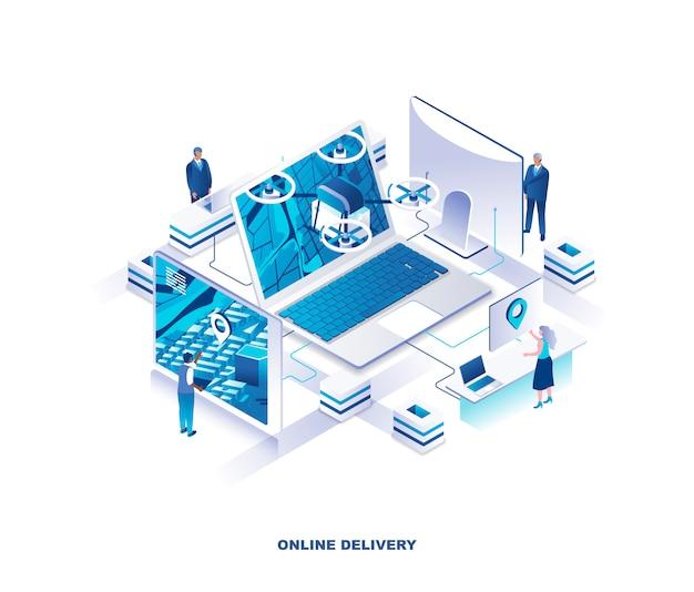 Concetto isometrico di servizio di consegna del drone di internet