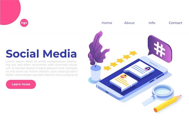 Concetto isometrico di social media con personaggi. modello di pagina di destinazione. illustrazione