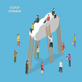 Concetto isometrico di stoccaggio della nuvola