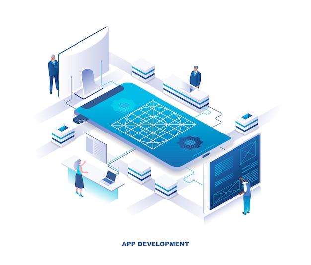 Concetto isometrico di sviluppo di applicazioni mobili