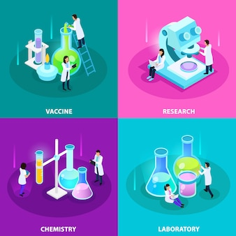 Concetto isometrico di sviluppo di vaccini con apparecchiature di chimica di ricerca di laboratorio ed esperimenti isolati