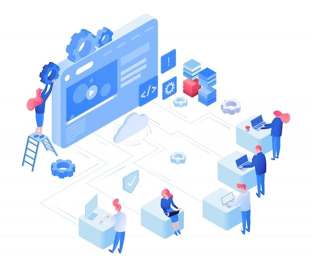 Concetto isometrico di sviluppo web