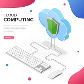 Concetto isometrico di tecnologia di cloud computing con icone di tastiera, mouse e scudo del computer. server di archiviazione cloud di sicurezza. isolato