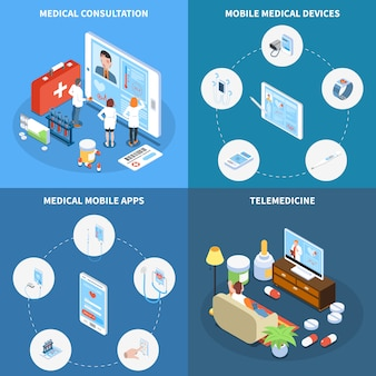 Concetto isometrico di telemedicina con le applicazioni mobili e i dispositivi mobili medici di consultazione online isolati