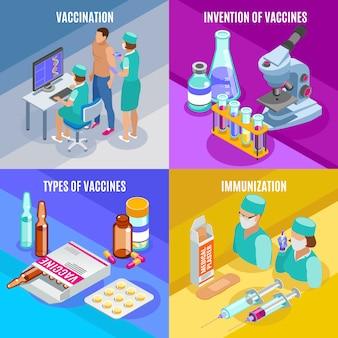 Concetto isometrico di vaccinazione con composizioni di forniture mediche tubi di vetro con vaccini e persone