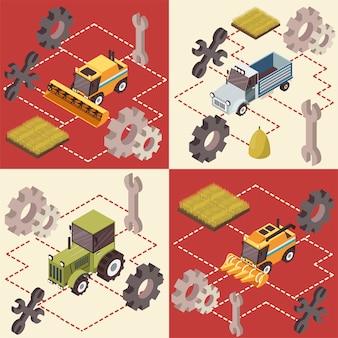 Concetto isometrico di veicoli agricoli