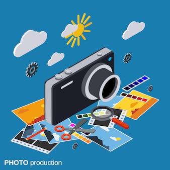 Concetto isometrico di vettore 3d di produzione piana della foto