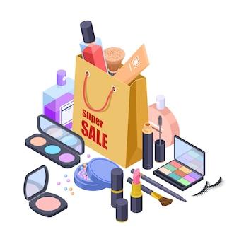 Concetto isometrico di vettore di borsa shoppig vendita cosmetica