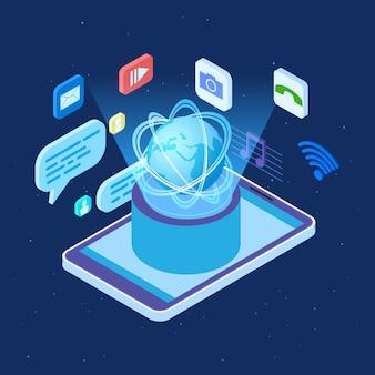 Concetto isometrico di vettore mondiale della rete sociale. illustrazione di applicazioni di social network globale