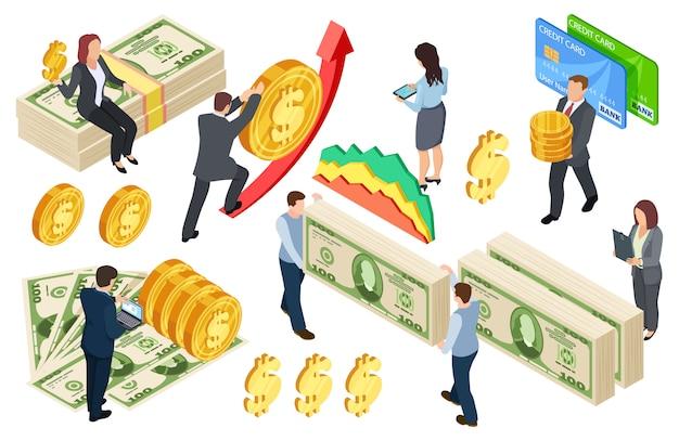 Concetto isometrico finanziario, bancario, crediti con monete e denaro