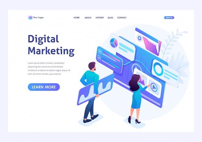 Concetto isometrico giovani imprenditori insistono sui dati per il marketing digitale, la pubblicità su internet. pagina di destinazione del modello per il sito web