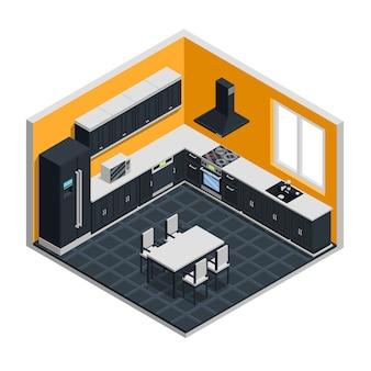 Concetto isometrico interno di cucina