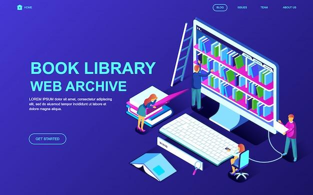 Concetto isometrico moderno design piatto della biblioteca del libro