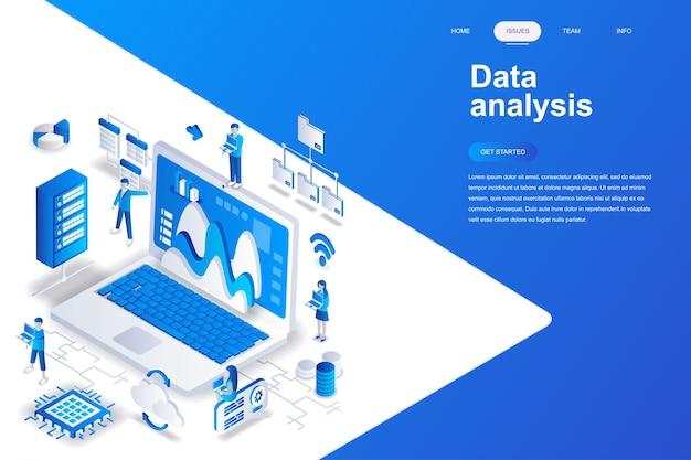 Concetto isometrico moderno design piatto di analisi dei dati.