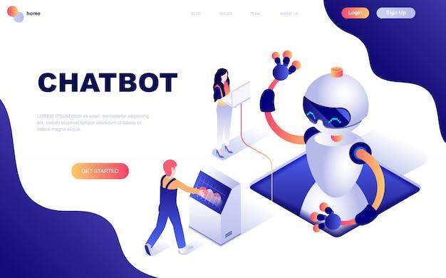 Concetto isometrico moderno design piatto di chat bot