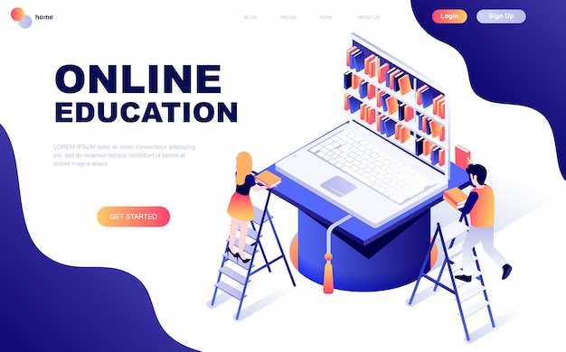 Concetto isometrico moderno design piatto di formazione online