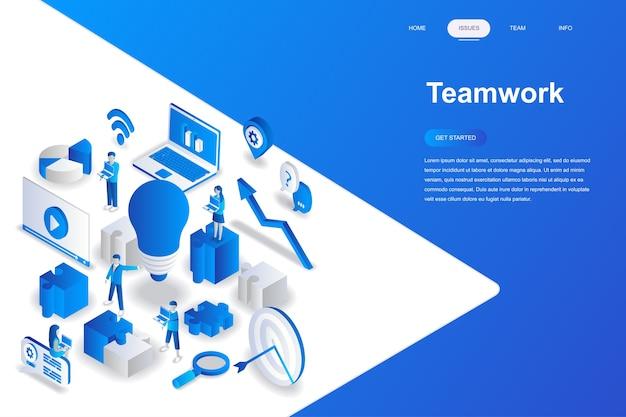 Concetto isometrico moderno design piatto di lavoro di squadra.