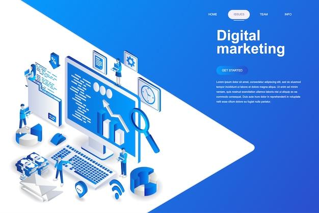 Concetto isometrico moderno design piatto di marketing digitale.
