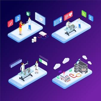 Concetto isometrico moderno design piatto di medicina online e assistenza sanitaria per banner e sito web. modello di pagina di destinazione isometrica. illustrazione vettoriale