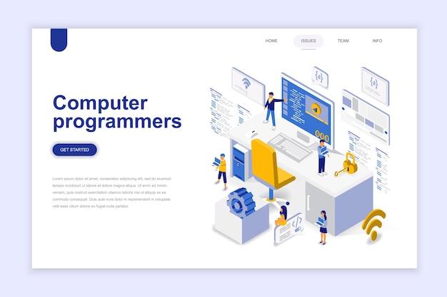 Concetto isometrico moderno design piatto di programmatori di computer.