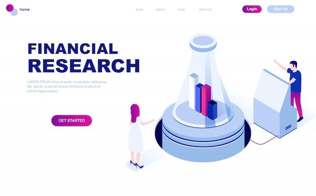 Concetto isometrico moderno design piatto di ricerca finanziaria
