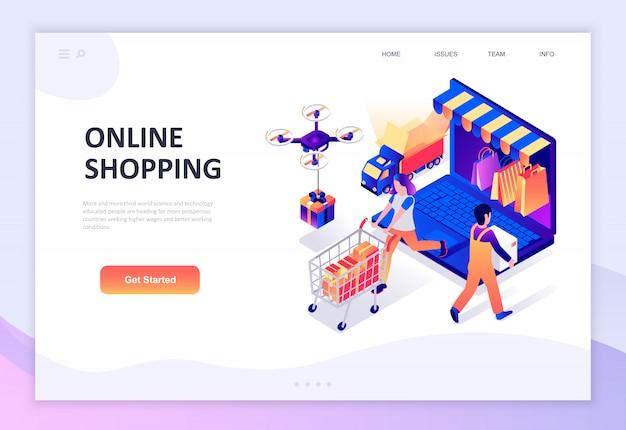Concetto isometrico moderno design piatto di shopping online