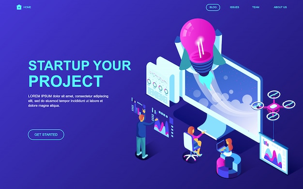 Concetto isometrico moderno design piatto di startup your project