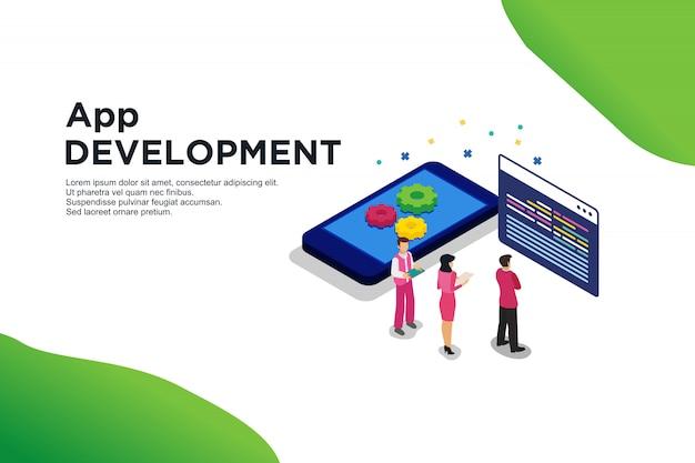 Concetto isometrico moderno design piatto di sviluppo di app