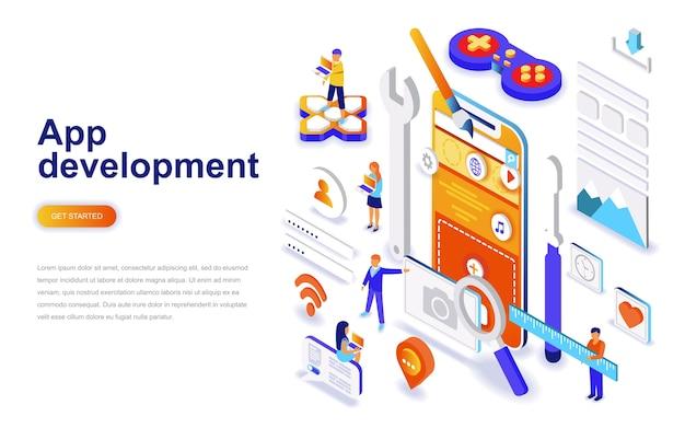 Concetto isometrico moderno design piatto di sviluppo di app.