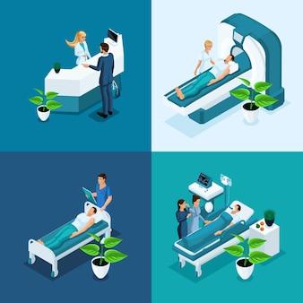 Concetto isometrico ospedale, risonanza magnetica medica, sala operatoria con medici, processo di fluorografia, ufficio chirurgo, clinica privata di diagnostica