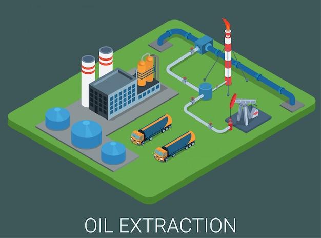 Concetto isometrico piano del ciclo di processo di estrazione di produzione di petrolio.