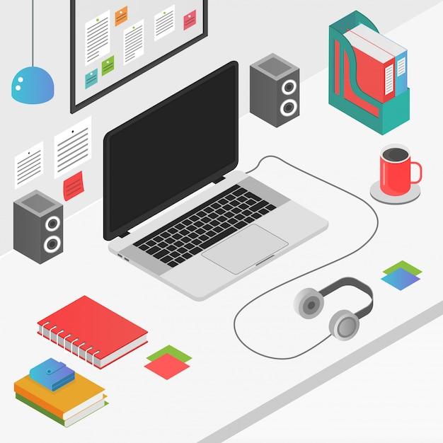 Concetto isometrico piano dell'area di lavoro 3d con l'illustrazione del computer portatile.