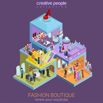 Concetto isometrico piano di vendita del centro commerciale del boutique di moda