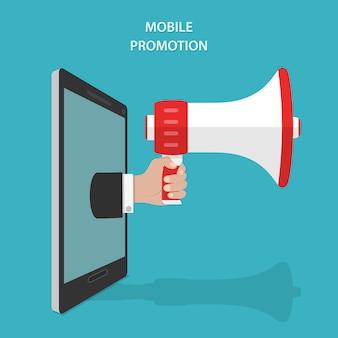 Concetto isometrico piano di vettore di promozione mobile.