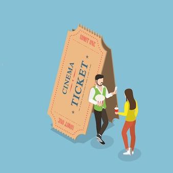 Concetto isometrico piatto biglietti del cinema.