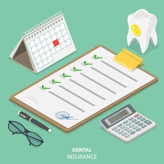Concetto isometrico piatto di assicurazione dentale.