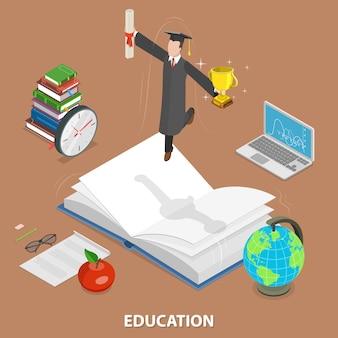 Concetto isometrico piatto di educazione