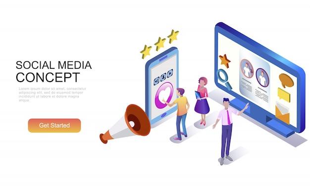 Concetto isometrico piatto di social media