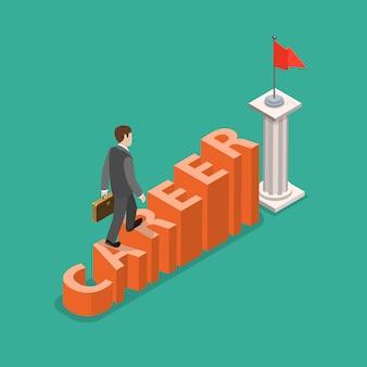Concetto isometrico piatto di sviluppo di carriera