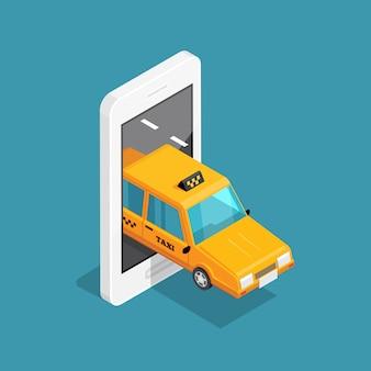 Concetto isometrico taxi intelligente
