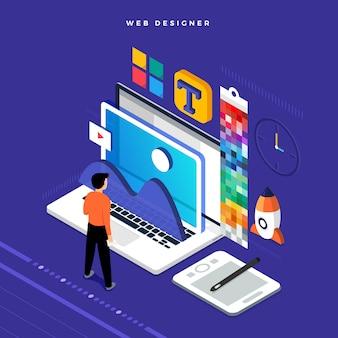 Concetto isometrico web er. illustrazione. progettazione del layout del sito web.