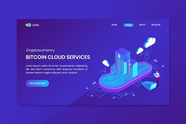 Concetto langding isometrico di servizi della nuvola di bitcoin