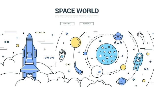 Concetto lineare orizzontale del mondo spaziale