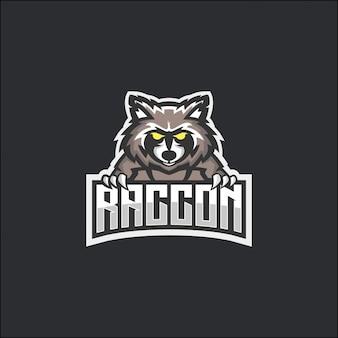 Concetto logo e-sport raccoon