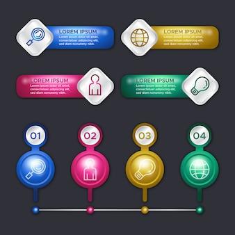 Concetto lucido del modello di infographics 3d