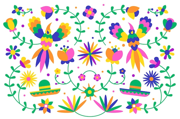 Concetto messicano variopinto della carta da parati di progettazione piana
