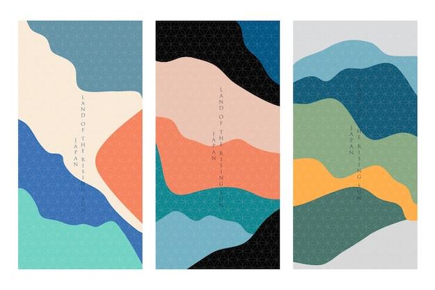 Concetto minimalista della collezione di copertine giapponesi